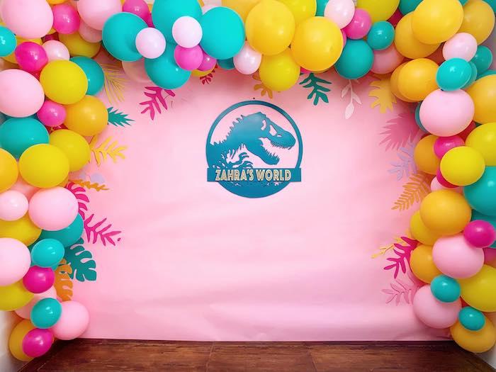 Dino World Balloon Backdrop + Photo Op from a Glam Three-Rex Dinosaur Party on Kara's Party Ideas | KarasPartyIdeas.com (10)