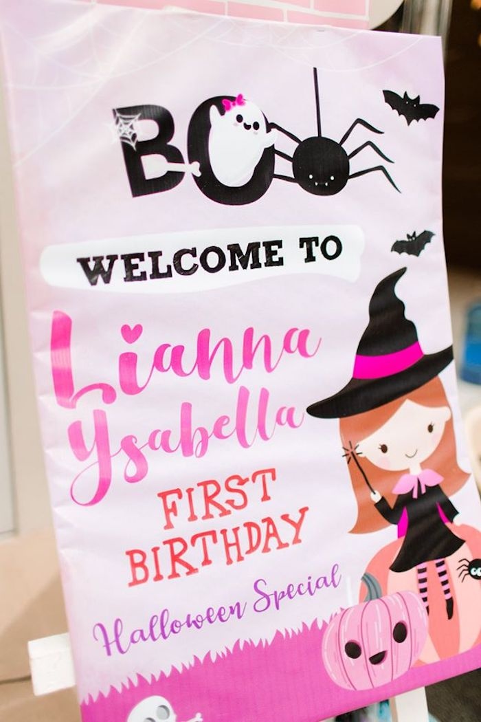 Halloween Welcome Sign from a Hocus Pocus Halloween Birthday Party on Kara's Party Ideas | KarasPartyIdeas.com (27)