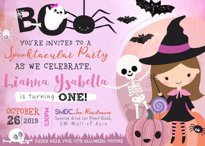 Halloween Party Invite from a Hocus Pocus Halloween Birthday Party on Kara's Party Ideas | KarasPartyIdeas.com (7)