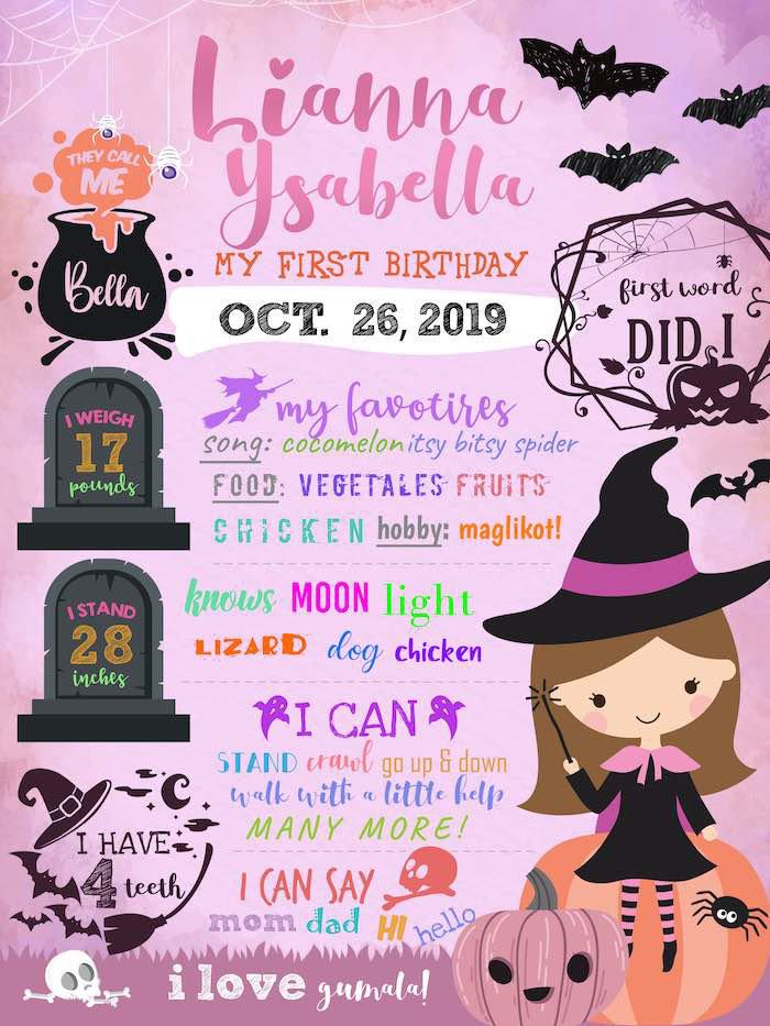 Halloween Milestone Board from a Hocus Pocus Halloween Birthday Party on Kara's Party Ideas | KarasPartyIdeas.com (6)