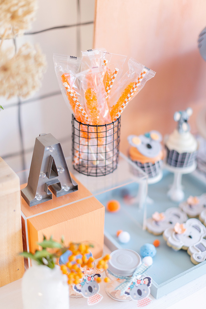 Orange Candy Sticks + Sweet Table Detail from a Koala Birthday Party on Kara's Party Ideas | KarasPartyIdeas.com (13)