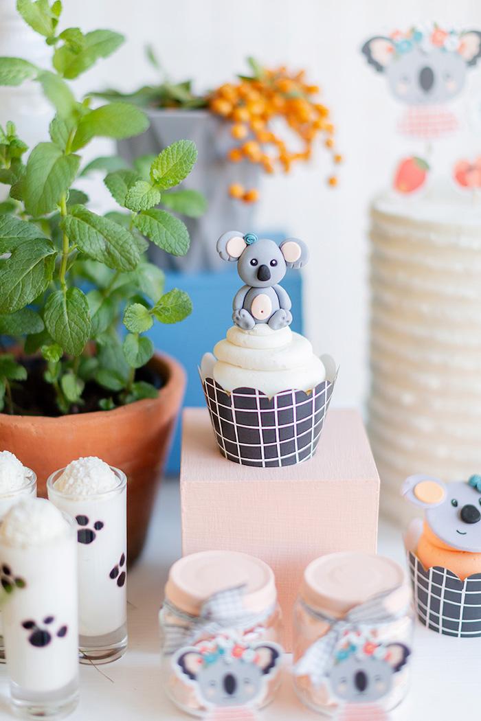 Koala Cupcake from a Koala Birthday Party on Kara's Party Ideas | KarasPartyIdeas.com (29)