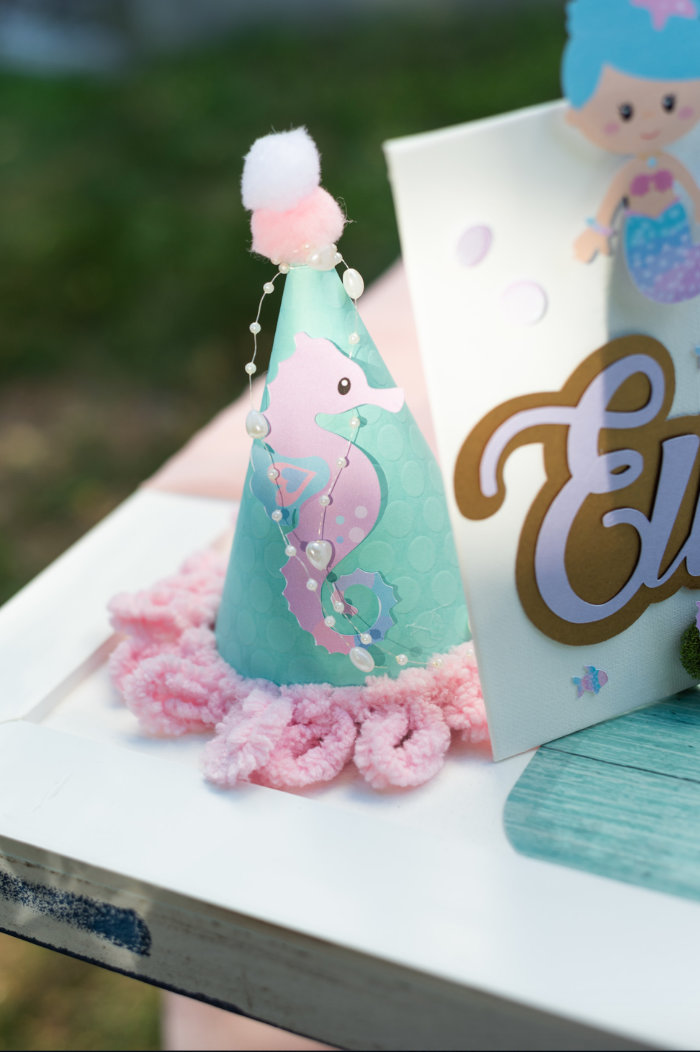 Seahorse Party Hat from a Mermaid Picnic Party on Kara's Party Ideas | KarasPartyIdeas.com (23)
