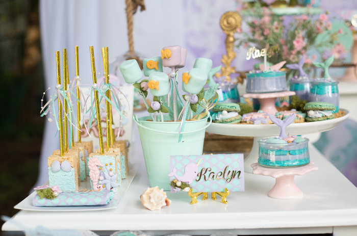 Mermaid-inspired Sweet Table from a Mermaid Picnic Party on Kara's Party Ideas | KarasPartyIdeas.com (20)