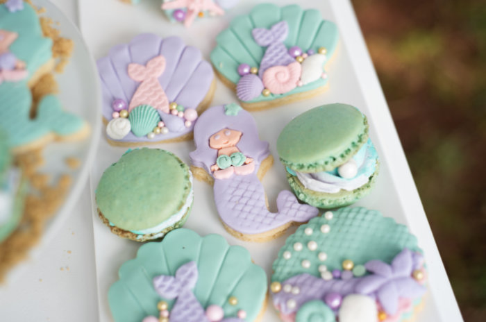 Mermaid-inspired Cookies + Macarons from a Mermaid Picnic Party on Kara's Party Ideas | KarasPartyIdeas.com (15)