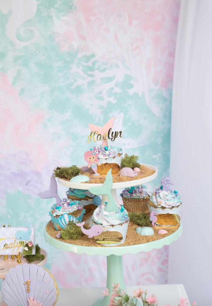 Under the Sea Dessert Pedestal from a Mermaid Picnic Party on Kara's Party Ideas | KarasPartyIdeas.com (14)