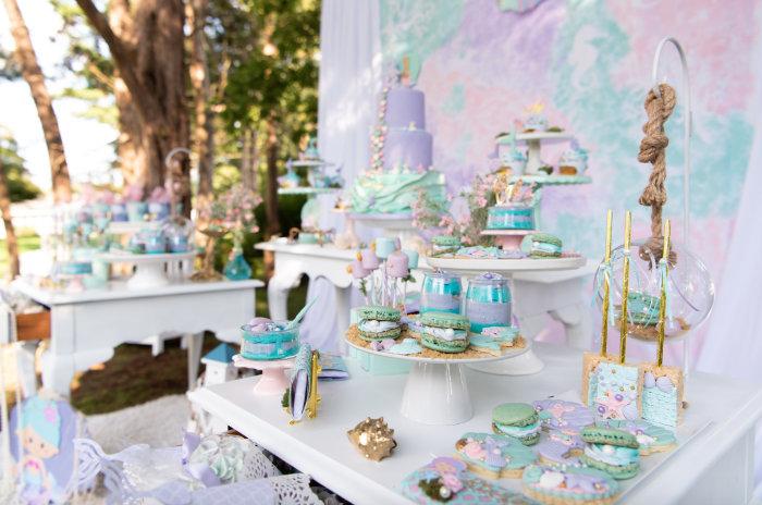 Mermaid Themed Dessert Table from a Mermaid Picnic Party on Kara's Party Ideas | KarasPartyIdeas.com (9)