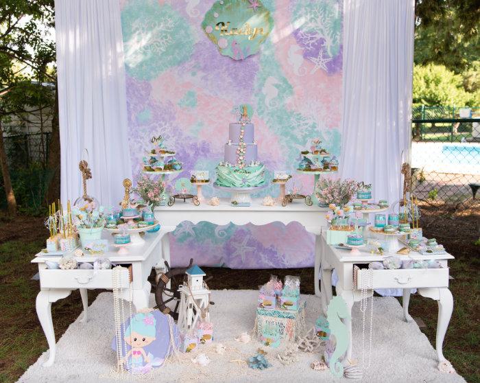Mermaid Themed Dessert Table from a Mermaid Picnic Party on Kara's Party Ideas | KarasPartyIdeas.com (8)