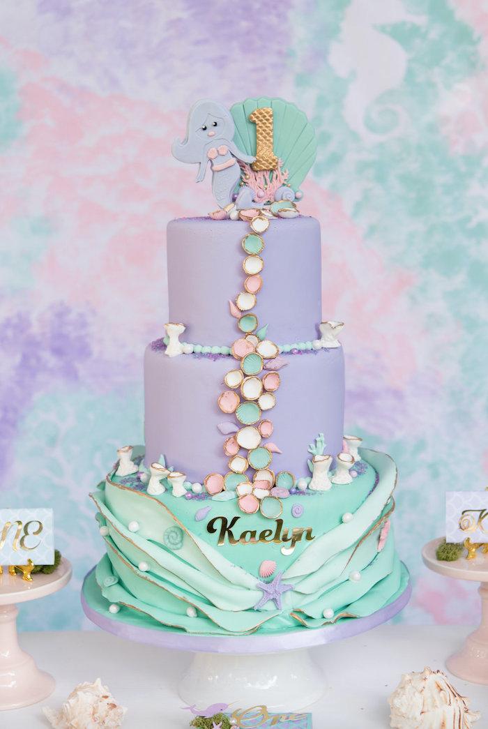 Mermaid Cake from a Mermaid Picnic Party on Kara's Party Ideas | KarasPartyIdeas.com (7)