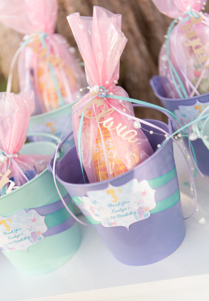 Personalized Favor Buckets from a Mermaid Picnic Party on Kara's Party Ideas | KarasPartyIdeas.com (5)