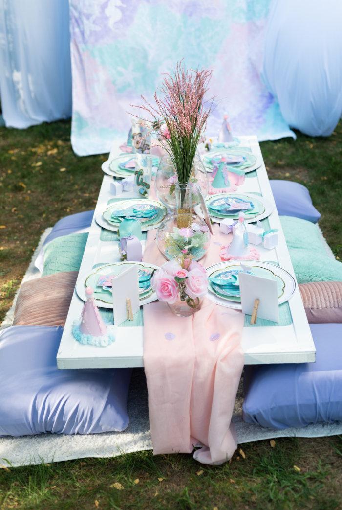 Mermaid Themed Kid Table from a Mermaid Picnic Party on Kara's Party Ideas | KarasPartyIdeas.com (2)