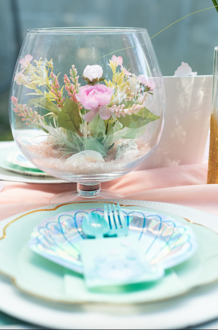 Fish Bowl Table Centerpiece from a Mermaid Picnic Party on Kara's Party Ideas | KarasPartyIdeas.com (34)