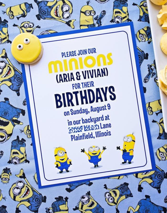 Minion Party Invite from a Minions Pandemic-Safe Birthday Party on Kara's Party Ideas | KarasPartyIdeas.com (22)