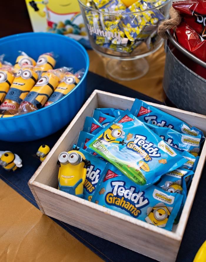 Minion Snacks from a Minion Teddy Grahams from a Minions Pandemic-Safe Birthday Party on Kara's Party Ideas | KarasPartyIdeas.com (18)