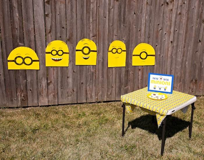 Pin the Eyeball on the Minion Game from a Minions Pandemic-Safe Birthday Party on Kara's Party Ideas | KarasPartyIdeas.com (16)