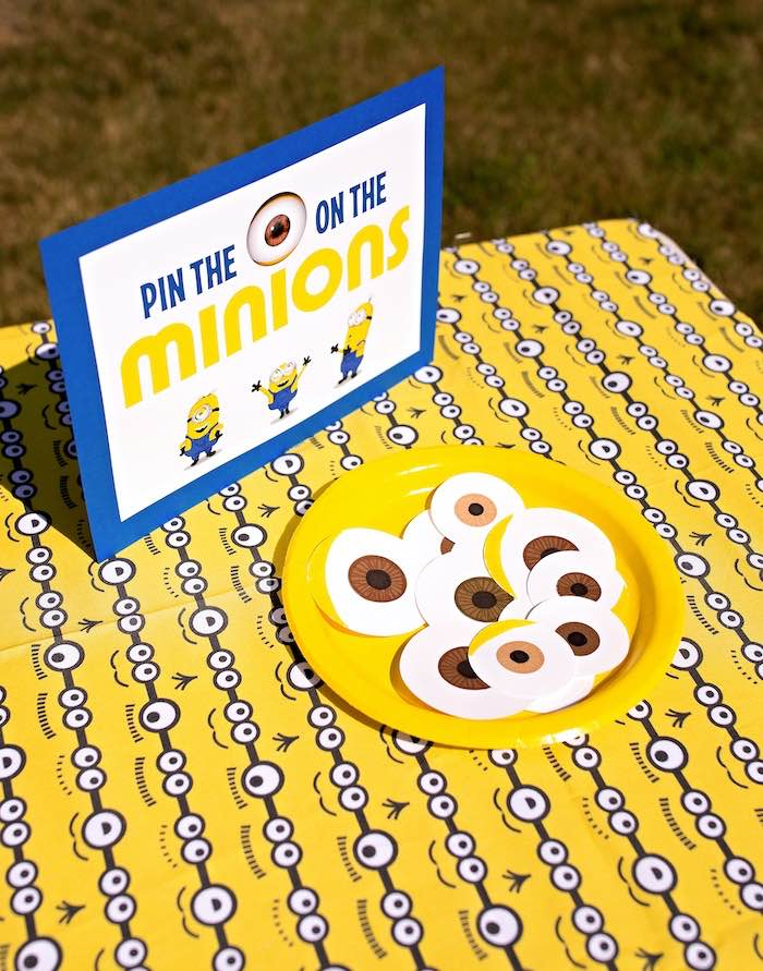 Pin the Eyeball on the Minion Game from a Minions Pandemic-Safe Birthday Party on Kara's Party Ideas | KarasPartyIdeas.com (15)