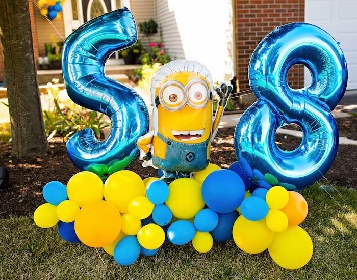 Minion Balloon Install from a Minions Pandemic-Safe Birthday Party on Kara's Party Ideas | KarasPartyIdeas.com (14)