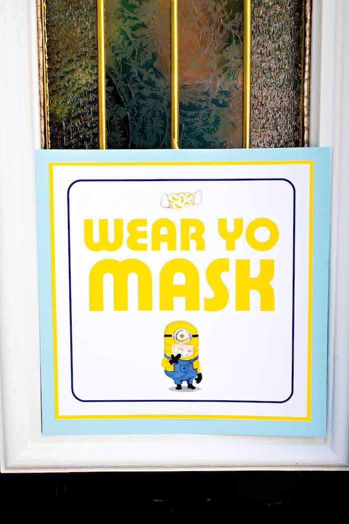 Minion- Wear Yo Mask Sign from a Minions Pandemic-Safe Birthday Party on Kara's Party Ideas | KarasPartyIdeas.com (13)
