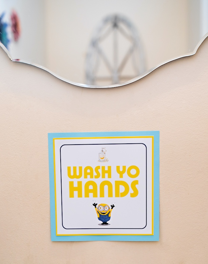 Minion - Wash Yo Hands Sign from a Minions Pandemic-Safe Birthday Party on Kara's Party Ideas | KarasPartyIdeas.com (12)