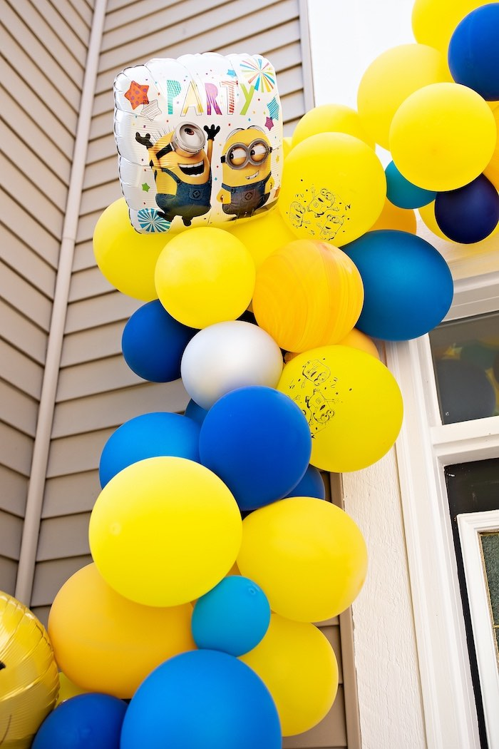 Minion-inspired Balloon Garland from a Minions Pandemic-Safe Birthday Party on Kara's Party Ideas | KarasPartyIdeas.com (11)