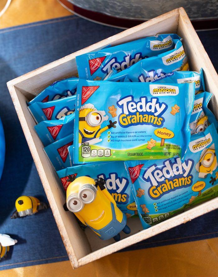Minion Teddy Grahams from a Minions Pandemic-Safe Birthday Party on Kara's Party Ideas | KarasPartyIdeas.com (6)