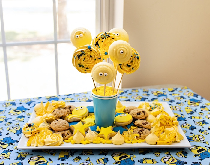 Minion-inspired Cookie Platter from a Minions Pandemic-Safe Birthday Party on Kara's Party Ideas | KarasPartyIdeas.com (28)