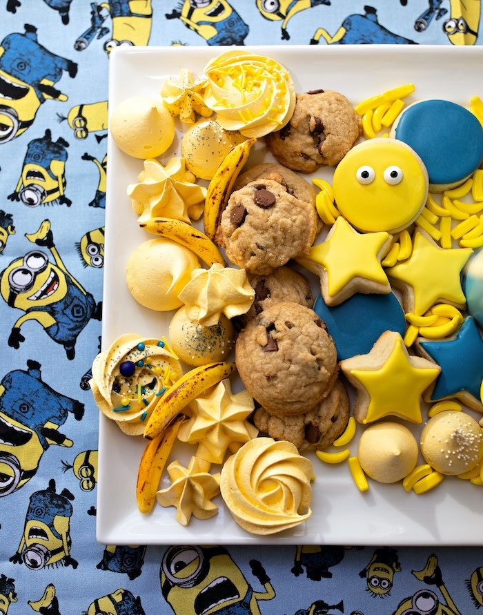 Minion-inspired Cookie Platter from a Minions Pandemic-Safe Birthday Party on Kara's Party Ideas | KarasPartyIdeas.com (27)