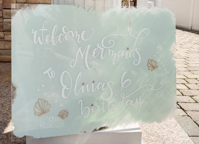Acrylic Welcome Sign from a Modern Floral Mermaid Birthday Party on Kara's Party Ideas   KarasPartyIdeas.com (24)
