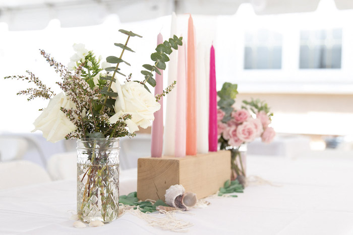 Wood Block Candle & Bloom Centerpiece from a Modern Floral Mermaid Birthday Party on Kara's Party Ideas | KarasPartyIdeas.com (21)