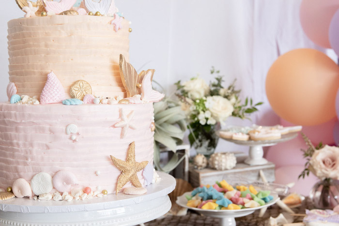 Mermaid Themed Cake from a Modern Floral Mermaid Birthday Party on Kara's Party Ideas | KarasPartyIdeas.com (16)