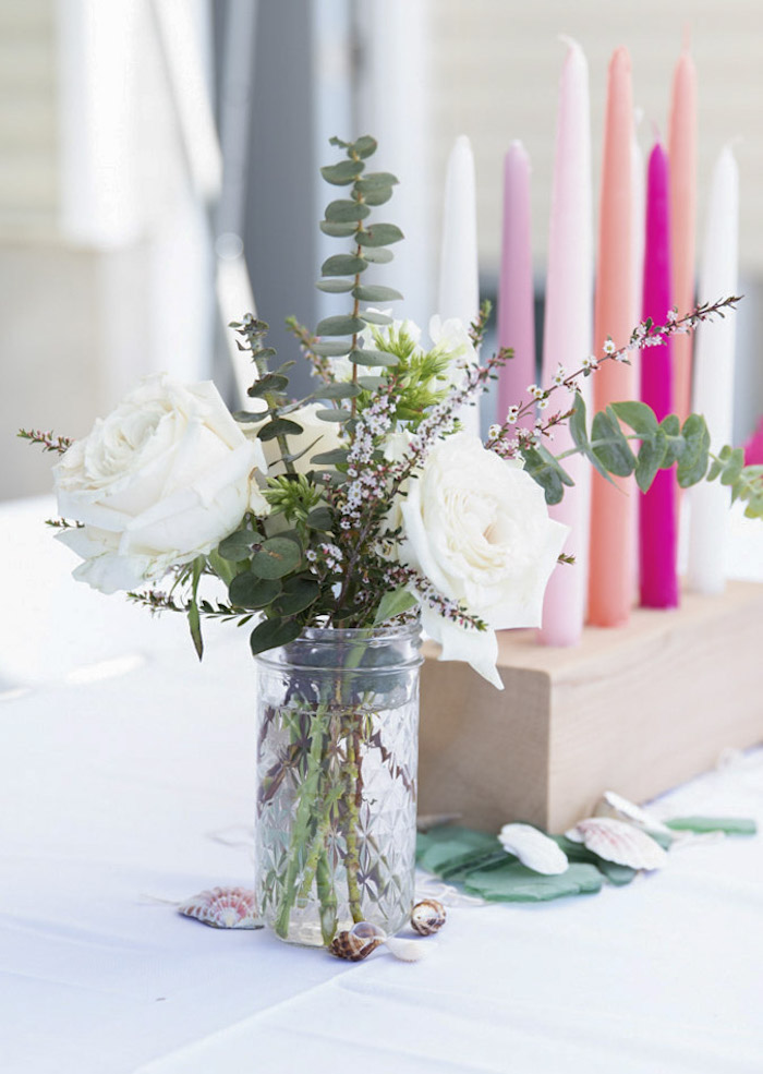 Under the Sea-inspired Blooms + Table Centerpiece from a Modern Floral Mermaid Birthday Party on Kara's Party Ideas | KarasPartyIdeas.com (14)