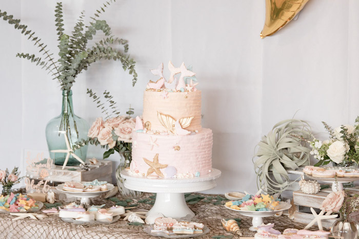 Mermaid Themed Dessert Table from a Modern Floral Mermaid Birthday Party on Kara's Party Ideas | KarasPartyIdeas.com (12)