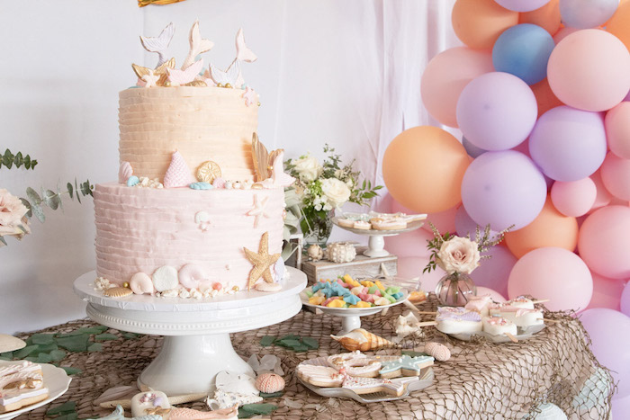 Mermaid Themed Dessert Table from a Modern Floral Mermaid Birthday Party on Kara's Party Ideas | KarasPartyIdeas.com (11)