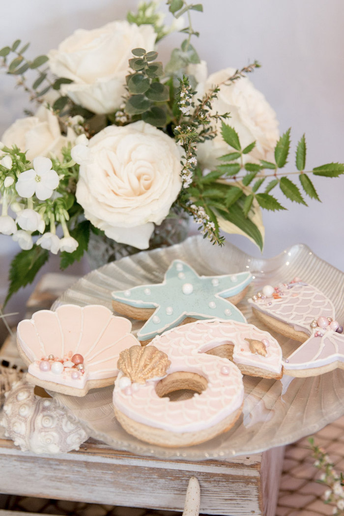 Sea Themed Cookies from a Modern Floral Mermaid Birthday Party on Kara's Party Ideas | KarasPartyIdeas.com (9)