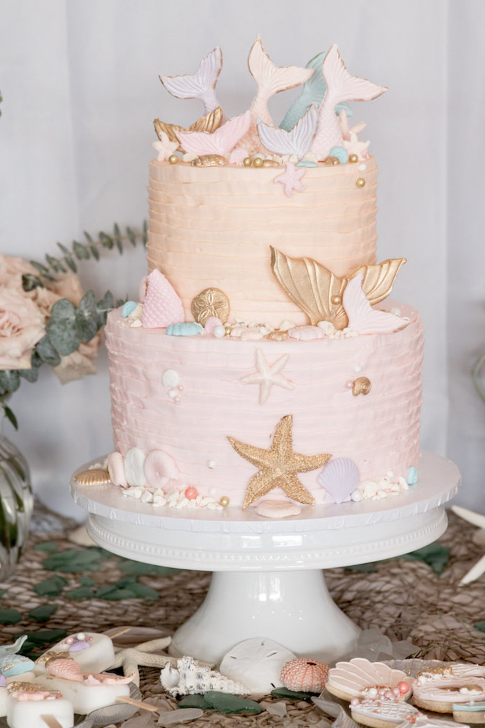 Mermaid-inspired Cake from a Modern Floral Mermaid Birthday Party on Kara's Party Ideas | KarasPartyIdeas.com (31)