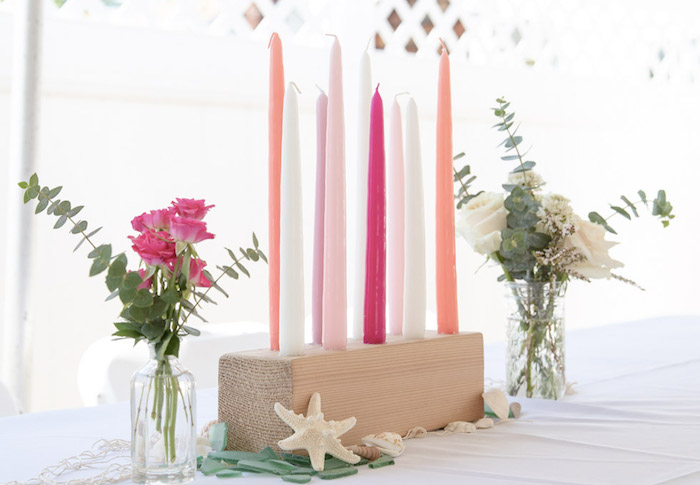Wood Block Candle & Bloom Centerpiece from a Modern Floral Mermaid Birthday Party on Kara's Party Ideas | KarasPartyIdeas.com (29)