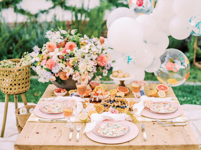 Citrus-inspired Brunch Table from a Mommy & Me Citrus Brunch on Kara's Party Ideas | KarasPartyIdeas.com (7)