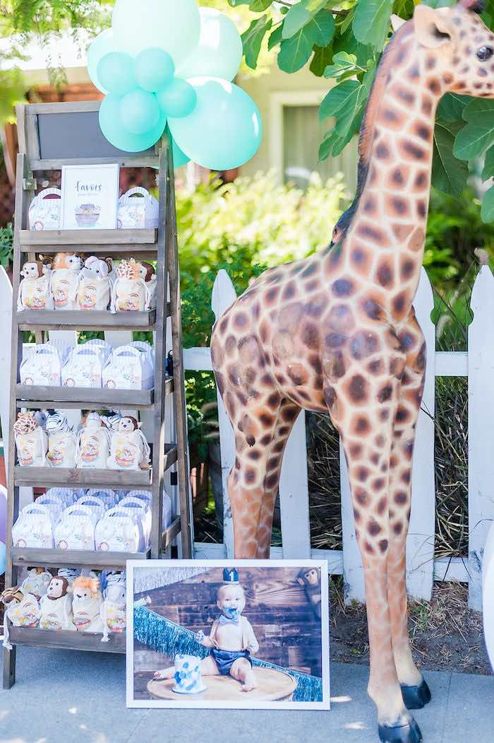 Giraffe Prop Favor Shelf from a Noah's Ark Birthday Drive-by Parade on Kara's Party Ideas | KarasPartyIdeas.com (39)