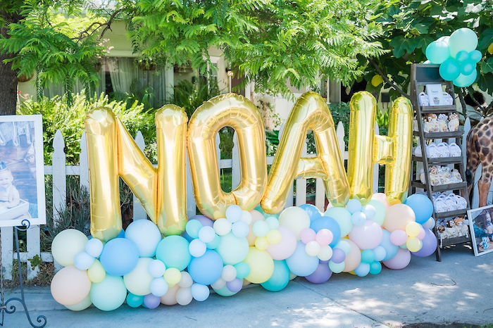 Balloon Name Sign from a Noah's Ark Birthday Drive-by Parade on Kara's Party Ideas | KarasPartyIdeas.com (32)