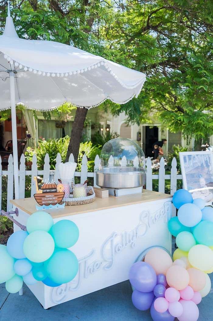 Cotton Candy Cart from a Noah's Ark Birthday Drive-by Parade on Kara's Party Ideas | KarasPartyIdeas.com (31)