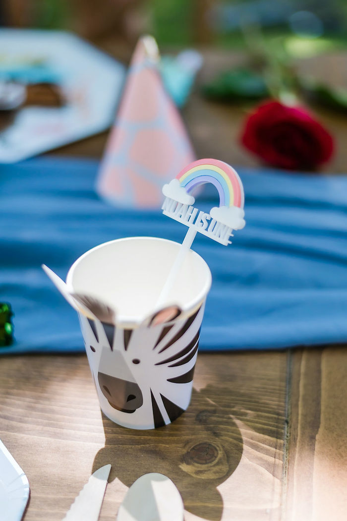 Zebra Cup with Rainbow Stir Stick from a Zebra Cup from a Noah's Ark Birthday Drive-by Parade on Kara's Party Ideas | KarasPartyIdeas.com (48)