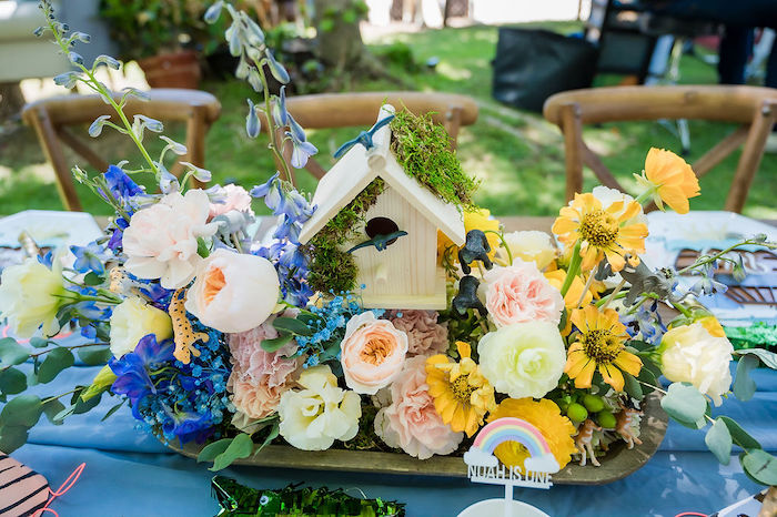 Noah's Ark-inspired Floral Arrangement + Centerpiece from a Noah's Ark Birthday Drive-by Parade on Kara's Party Ideas | KarasPartyIdeas.com (13)