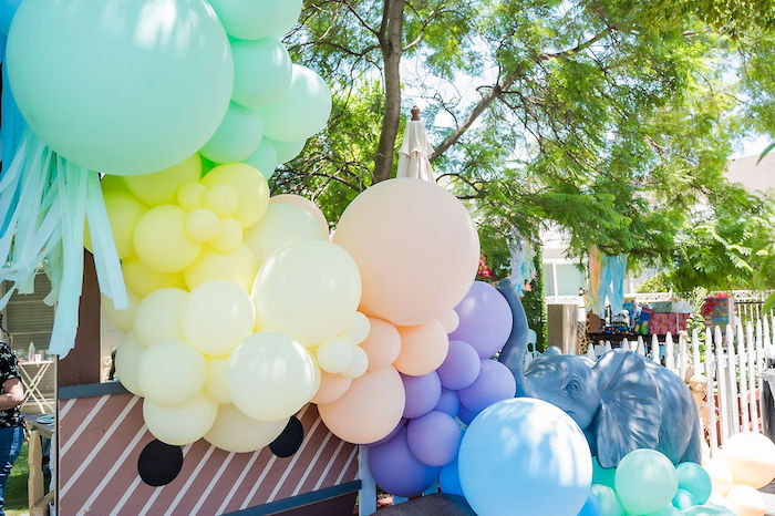 Pastel Color Block Balloon Garland from a Noah's Ark Birthday Drive-by Parade on Kara's Party Ideas | KarasPartyIdeas.com (6)