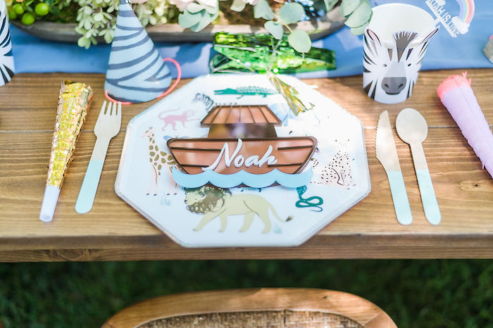 Noah's Ark Themed Table Setting from a Noah's Ark Birthday Drive-by Parade on Kara's Party Ideas | KarasPartyIdeas.com (43)