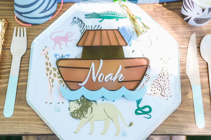 Noah's Ark Themed Table Setting from a Noah's Ark Birthday Drive-by Parade on Kara's Party Ideas | KarasPartyIdeas.com (42)
