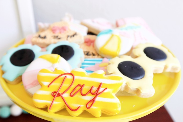 Beach Themed Cookies from a Palm Springs Beach Ball Birthday Bash on Kara's Party Ideas | KarasPartyIdeas.com (32)