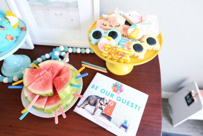 Sweet Tabletop from a Palm Springs Beach Ball Birthday Bash on Kara's Party Ideas | KarasPartyIdeas.com (28)