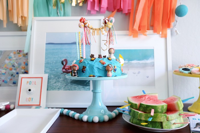 Beach Themed Cake from a Palm Springs Beach Ball Birthday Bash on Kara's Party Ideas | KarasPartyIdeas.com (27)