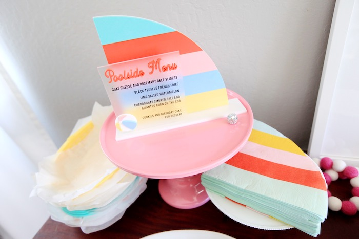 Ship Sail Pool Menu +NapKins from a Palm Springs Beach Ball Birthday Bash on Kara's Party Ideas | KarasPartyIdeas.com (25)
