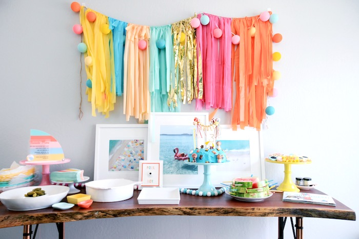Beach Themed Dessert Table from a Palm Springs Beach Ball Birthday Bash on Kara's Party Ideas | KarasPartyIdeas.com (24)